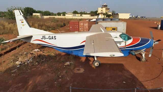 Cessna-208B J5-GAS c/n 208B0948, ex Guinea-Bissau Government/ Coastguard. Stored, Bamako-Sénou, December 2014.