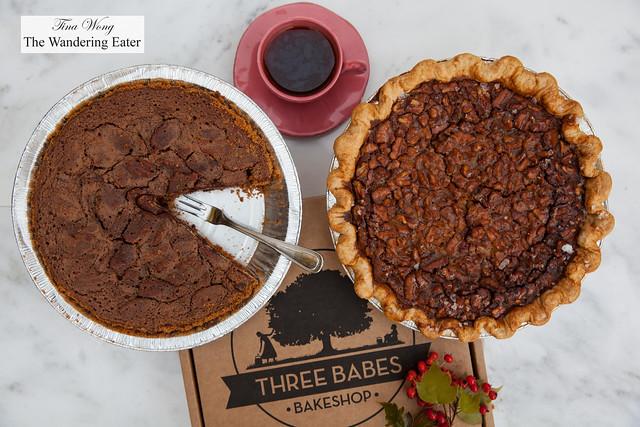 Three Babes Bakeshop - Bourbon Pecan Pie and Bittersweet Chocolate Pecan Pie