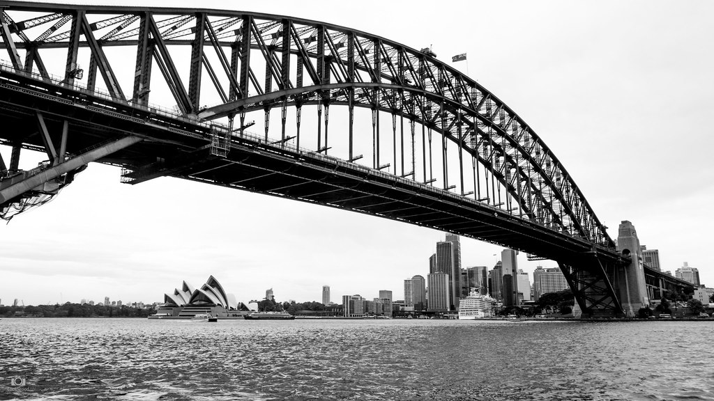 Sydney Opera House And Harbour Bridge Black And White 4k W