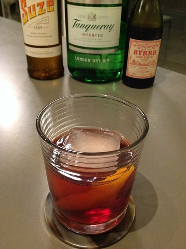 Violet Negroni (Mathieu Sabbagh via Diffords) with Byrrh, Tanqueray London dry gin, Suze #cocktail #cocktails #craftcocktails #negroni #gin #suze #byrrh @diffordsguide | by *FrogPrincesse*