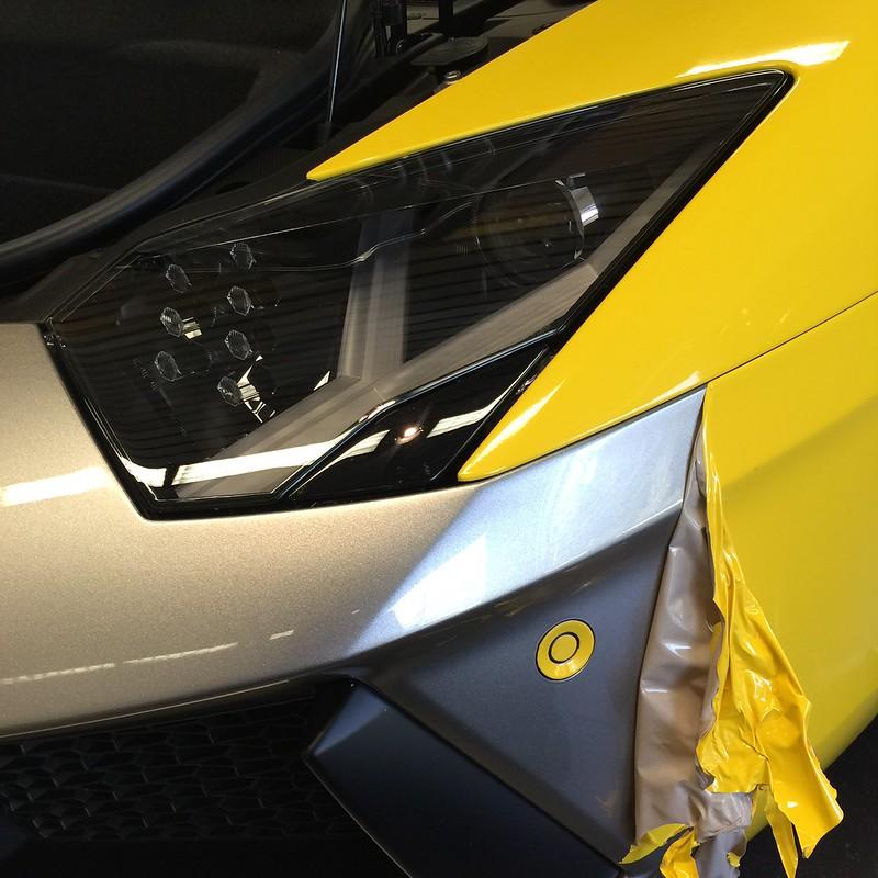 Car wrap removal on Lamborghini