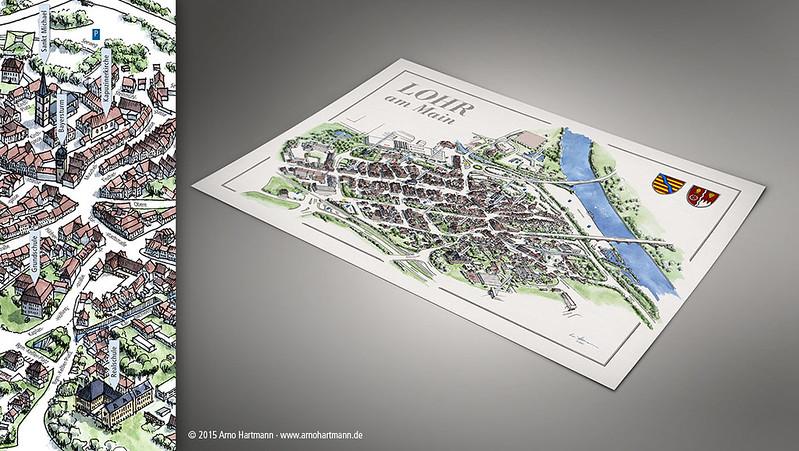 Hand drawn 3D town plan of Lohr am Main
