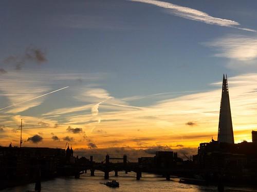 bigsky sky thames bridge river silhouette theshard theshardlondon towerbridge centrallondon blackfriars sunrise london instagramapp square squareformat iphoneography