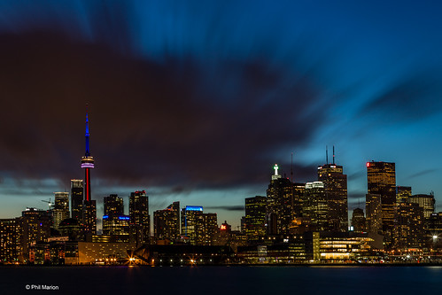 Black cloud hangs over the city - Toronto long exposure after sunset | by Phil Marion (176 million views - THANKS)