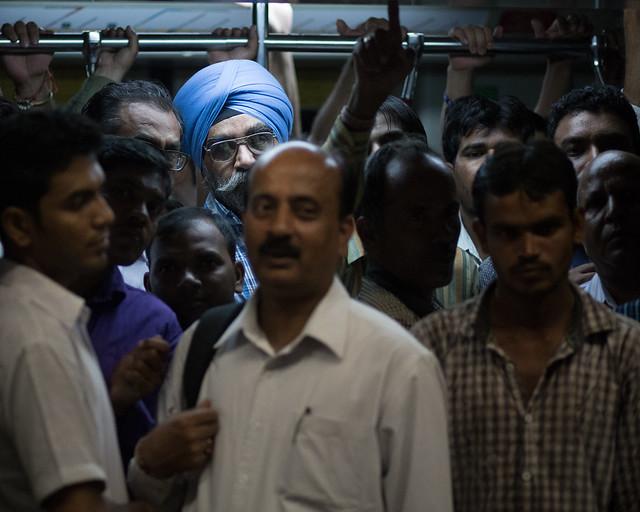 The cramped Delhi metro