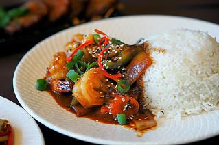 Sydney Food Blog Review of Wok On Inn, Zetland:Korean Prawn Stir Fry with Rice | by insatiablemunch