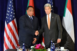 Secretary Kerry Poses for a Photo With Sudanese Foreign Minister Ghandour Before Their Meeting in New York City