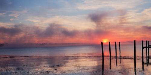 sunrise gorgeous composition sky clouds water river orange blue fog pier susquehanna havredegrace