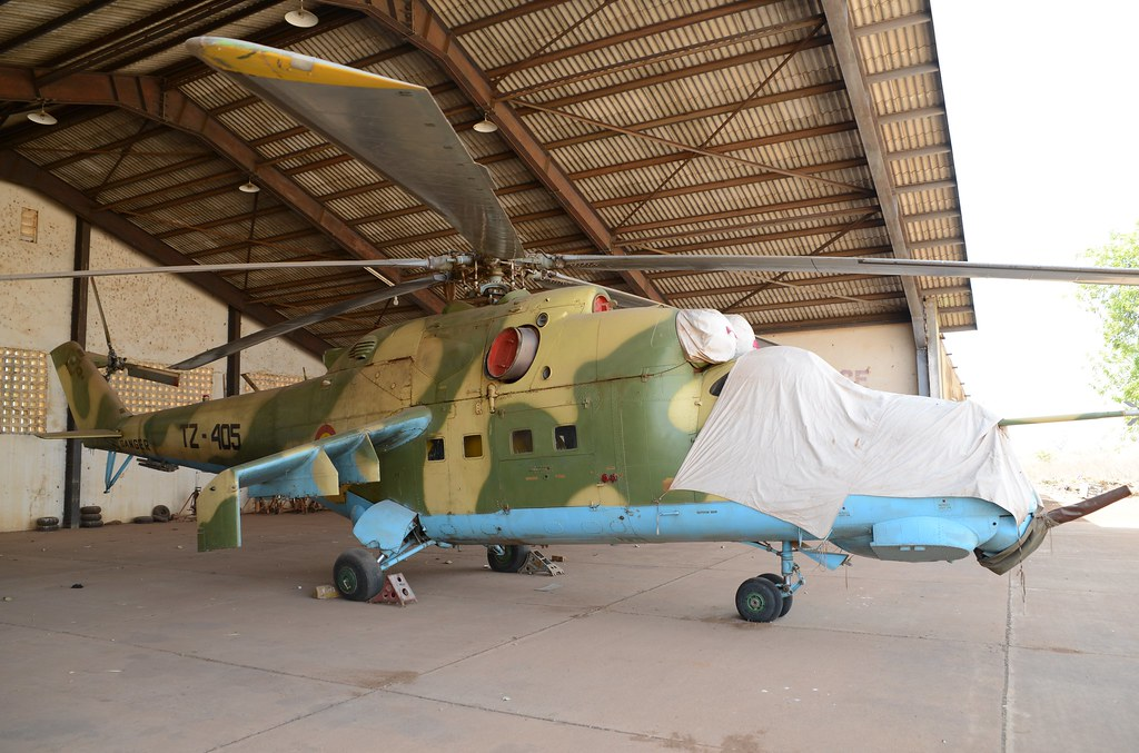 Mi-24D TZ-405 c/n Unknown ex Mali-AF. Stored Bamako-Sénou, December 2014.