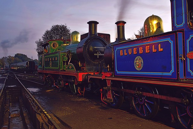 Former South East & Chatham Railway Locos No.263 & No.323 'Bluebell', on shed. Bluebell Railway. 30 10 2016