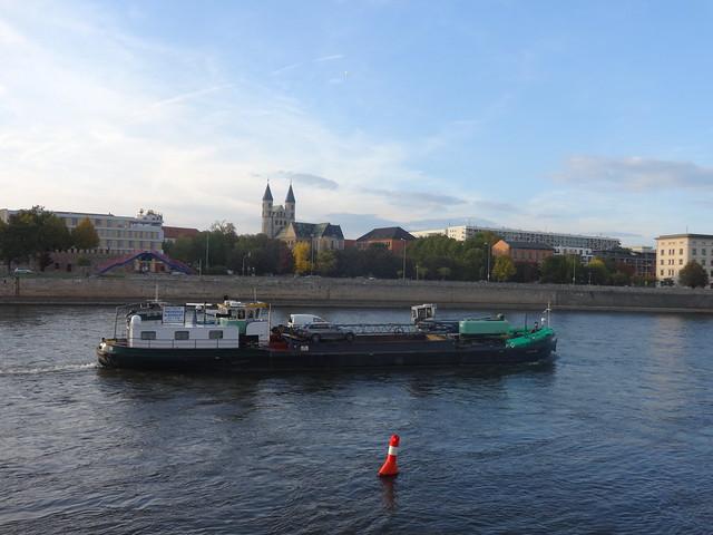 1960 Baggerschiff MS Theodorus von Elsflether Werft Talfahrt am Domfelsen Elbe-km 325 in 39104 Magdeburg