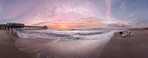 cocoa beach pier sunrise dawn atlantic ocean brevard county space coast florida surfer surfing panorama sony alpha a6300 1018mm sel1018 sweep
