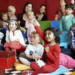 Are You Sitting Comfortably? | A young audience enjoy Jo Williamson's drawings and stories in her Book Festival event © Helen Jones