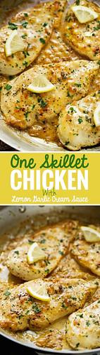 One-Skillet-Chicken-with-Lemon-Garlic-Cream-Sauce-4 | by littlespicejar