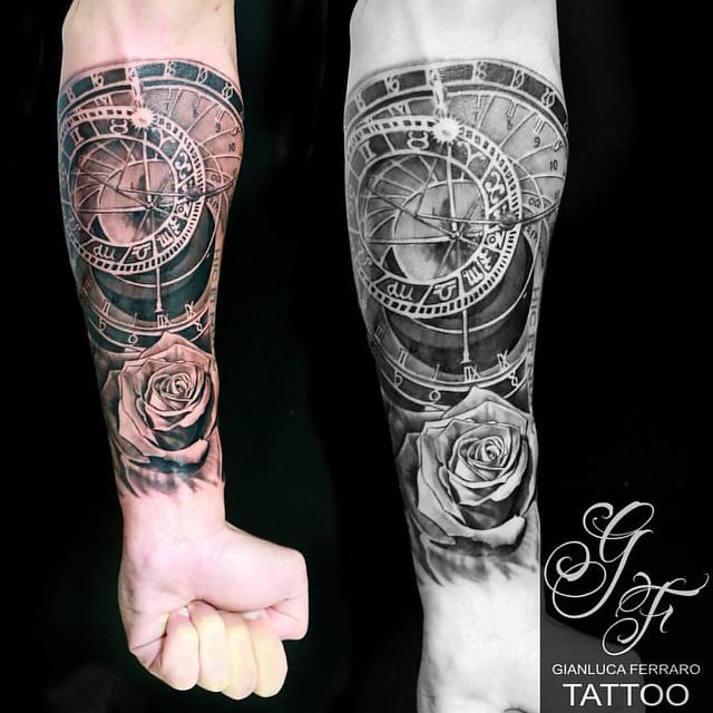 Astronomical Clock Tattoo: Astronomical Clock With Rose... Gianluca Ferraro Tattoo