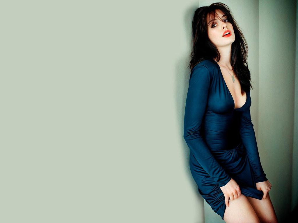 Anne Hathaway Pose In Dark Blue Dress Hd Wallpaper Styli
