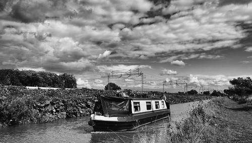 railway canal countryside clouds monochrome landscape blackdiamond