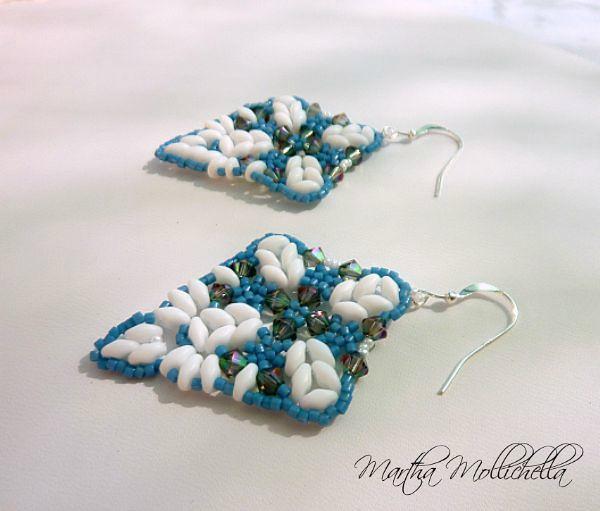 handbeaded earrings with swarovski made in Italy by Martha Mollichella Handmade Jewelry
