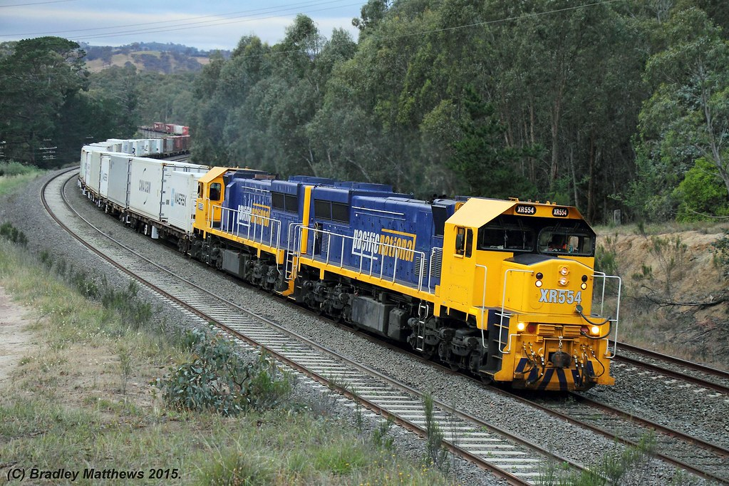 XR554-XR553 with 9306 up PN Tocumwal freight at Broadford (6/11/2015) by Bradley Matthews