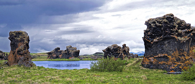 Up close to the Dark Castles of Myvatn