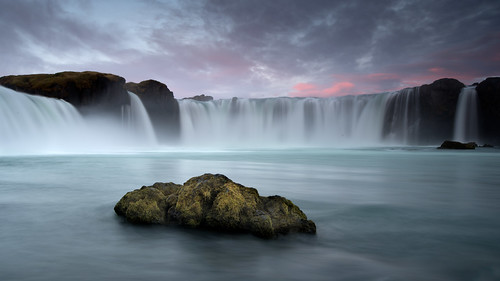 rock waterfall godafos iceland water flow sunset green
