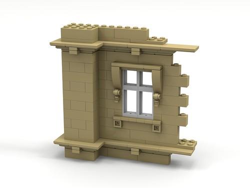 Lego wall, foundation, ledge, window.