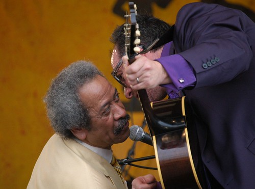 Allen Toussaint & Elvis Costello at Jazz Fest 2006, photo by Black Mold