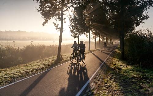 utrecht uithof mist fog misty morgen morning sunrise sunshine light bike fietsen cyclist shadows
