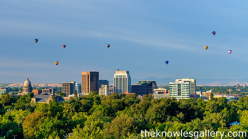 Boise Balloon festival and skyline | by The Knowles Gallery