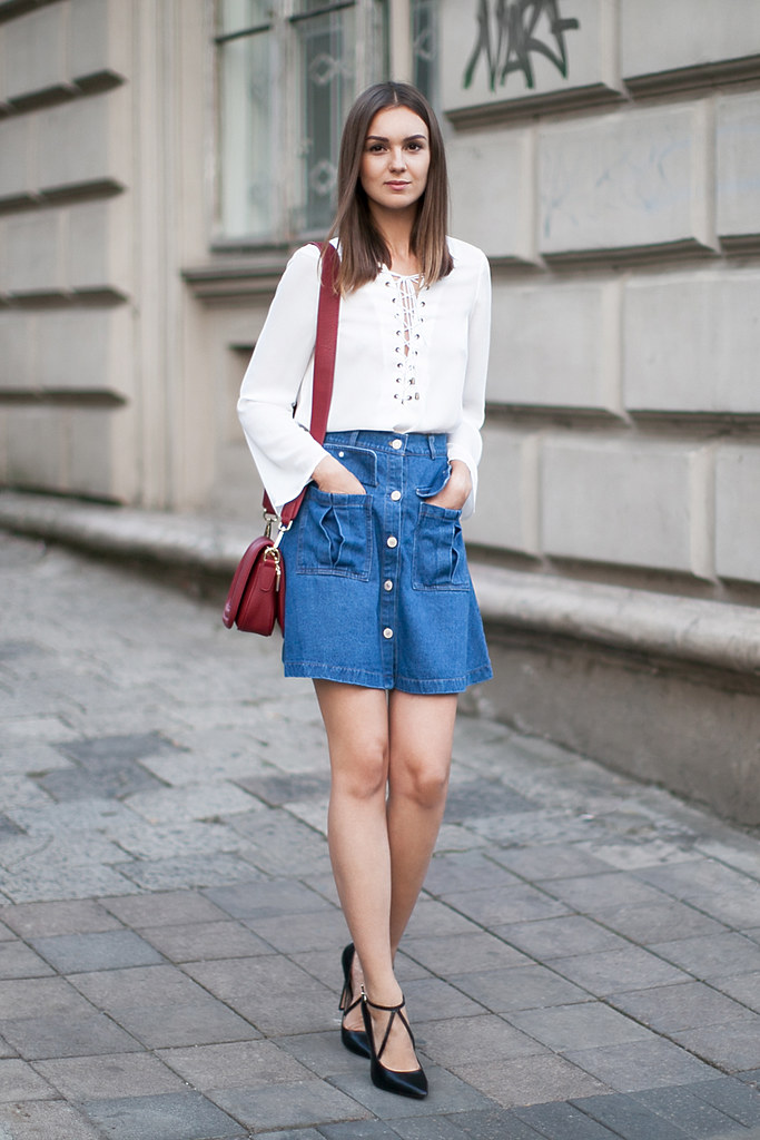 49cd28c76a A-line-denim-skirt-outfit-street-style | Nika Huk | Flickr
