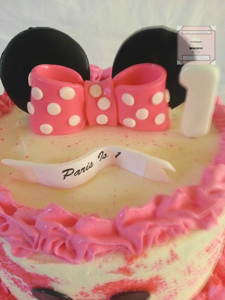 Cool Minnie Mouse 1St Birthday Cake 8In Minnie Mouse 1St Birthd Flickr Personalised Birthday Cards Veneteletsinfo