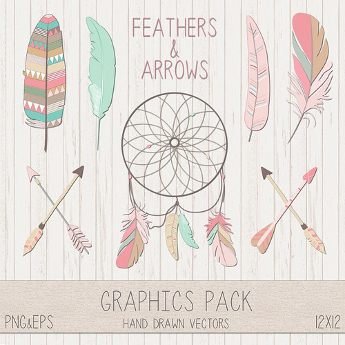 LeeLee Graphics - Feathers & Arrows Clip Art