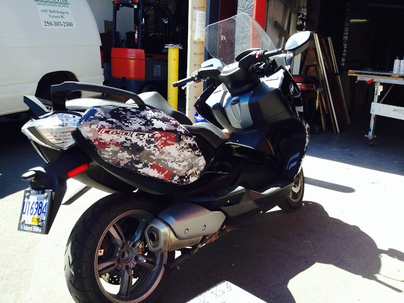 Digital Camo wrap on BMW scooter