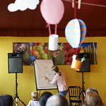 Are You Sitting Comfortably? | Jo Williamson draws some special characters for her young Book Festival audience © Helen Jones