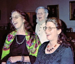 Martha, Pat, and Dick singing at Harry Schecter's 90th birthday, January 2002