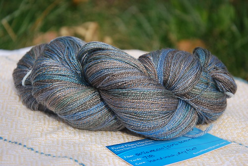 Handspun skein of merino/tencel yarn made by Sarah Jordan Fluvial Fibers pic taken by irieknit