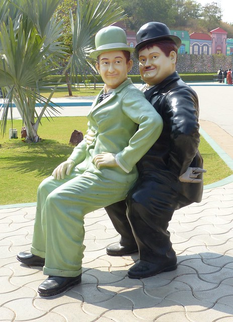 22. Laurel and Hardy posed for a photo for me while they were on a visit to Ramoji Film City in Hyderabad, India