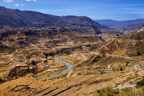 2007 canyon colca landscape mountain peru river sunny arequipa pe hill
