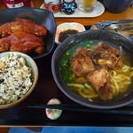 Okinawa Soba noodle southern style with boiled pork foot Nanbu soba at Itoman,Okinawa Japan.