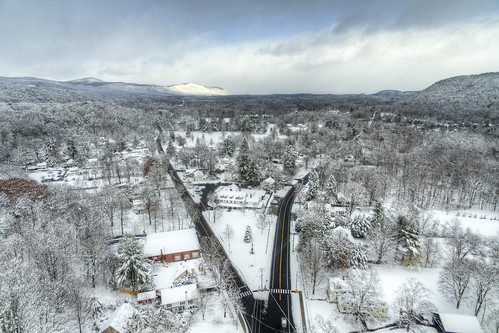 hdr aerial drone quadcopter landscape small town america salisbury connecticut winter storm snow mountain intersection dji phantom3