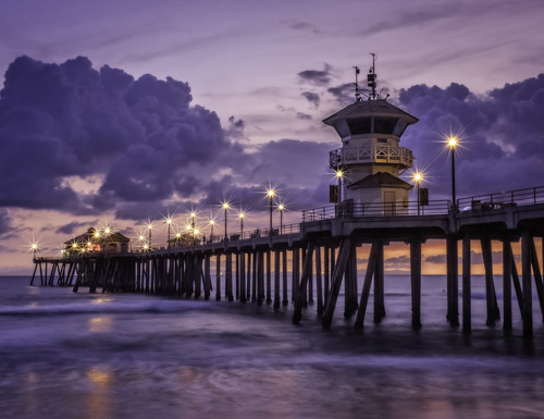 ocean california longexposure sunset beach water clouds lights coast pier pacific huntington