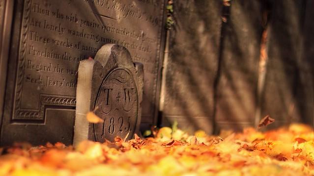 Autumn Gravestone ( inscription reads TW 1825 )