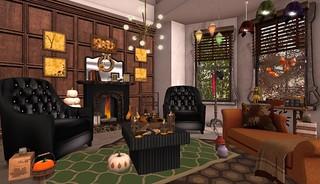 Pumpkin Spice- Tylar's Treasures Firelight LR | by Hidden Gems in Second Life (Interior Designer)
