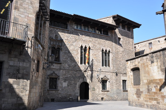 "Barcelona (Gothic Quarter). ""Casa dels canonges"". A late Gothic building (14th-16th C.) restored in 1927-1930 by Jeroni Martorell architect"