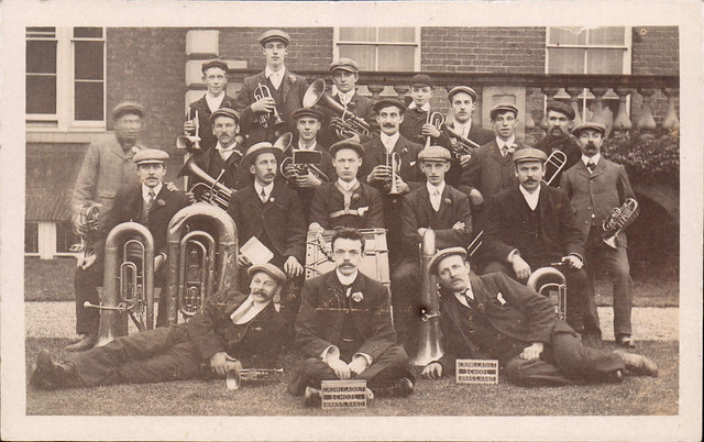 Crowle Adult School Brass Band In front of Hirst Priory