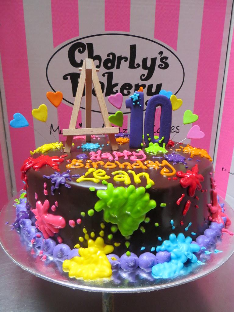 Artist Themed 10th Birthday Cake With 3D Easel Paint Splotches Splatter