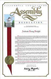 California Legislature Assembly Resolution #958 Commendation - Andrew Kong Knight | by Award-winning Artist & Art Educator