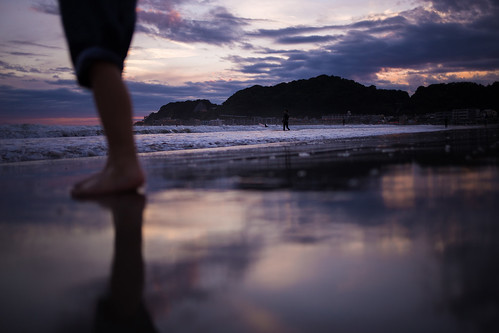 reflection dusk sunset beach sea wave shore 鎌倉