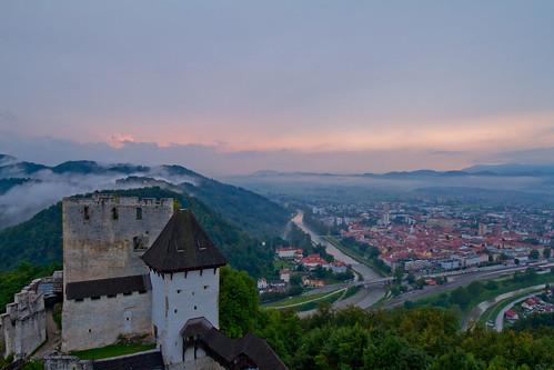 slovenia celje celjecastle castle sunset fog clouds cityscape summer