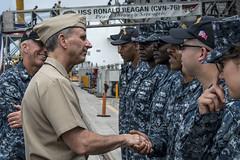Chief of Naval Operations (CNO) Adm. Jonathan Greenert greets sailors stationed aboard the aircraft carriers USS Ronald Reagan (CVN 76) and USS Carl Vinson (CVN 70). (U.S. Navy/MC3 Ryan McFarlane)